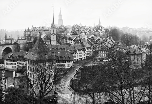 View on Old City of Bern in the rain, Switzerland Obraz na płótnie
