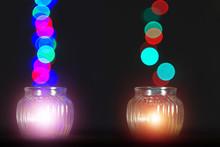 Glass Bottles Lights Bokeh