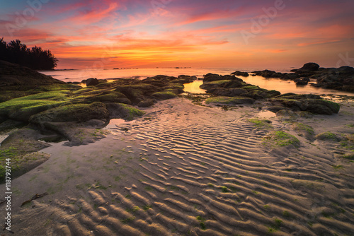 Foto auf Acrylglas Tropical strand Beautiful sand pattern during sunset. Image May contain soft focus and blur due to long expose.