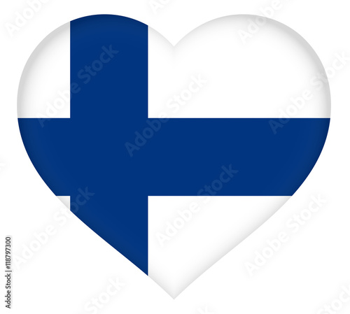 Valokuva The National Flag of Finland shaped like a heart
