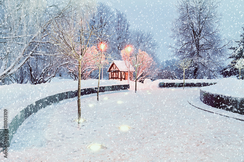 Foto-Leinwand ohne Rahmen - Winter night landscape with illuminated lonely house - winter landscape view (von syntheticmessiah)