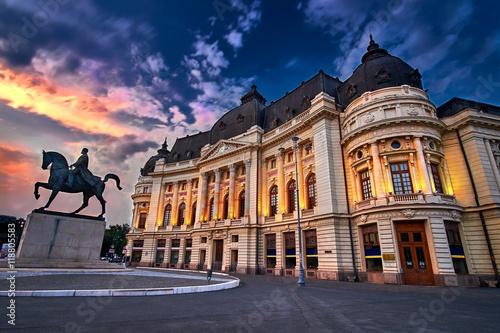 Bucharest at Sunset. Bucuresti Calea Victoriei, Piata Revolutiei.