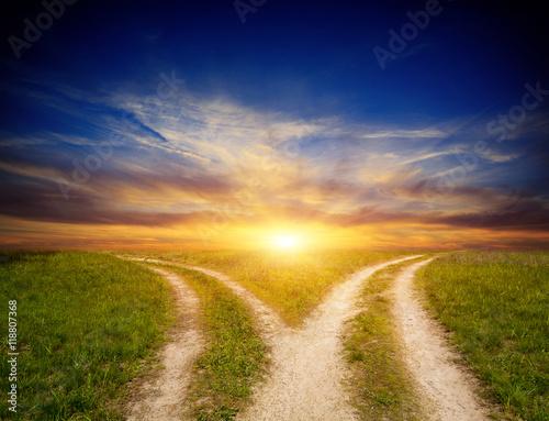 Fotografía fork roads in steppe on sunset sky background