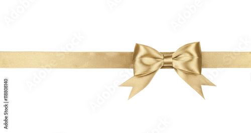 Fotografie, Obraz  Gold bow isolated on white background
