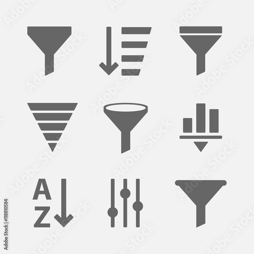 Fotografia, Obraz  Filter icon vector set
