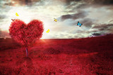 Fototapeta Natura - Beautiful field with heart shape tree and butterflies. Abstract red landscape background.