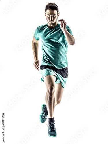 man runner jogger running  isolated Canvas Print
