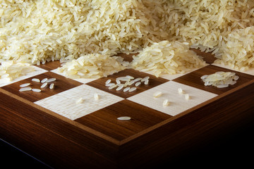 chessboard with growing heaps of rice grains, legend about the exponential growth