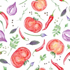 Fototapeta Tomato and Spices Fresh Watercolor Background