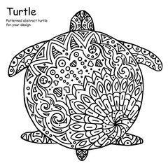 Abstract doodle outline turtle illustration
