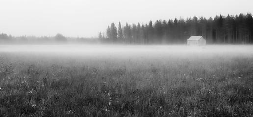Barn in the fog