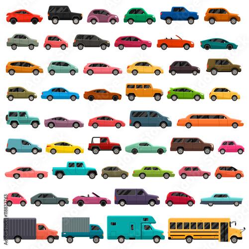 Obraz na plátne Car Types Vector Set