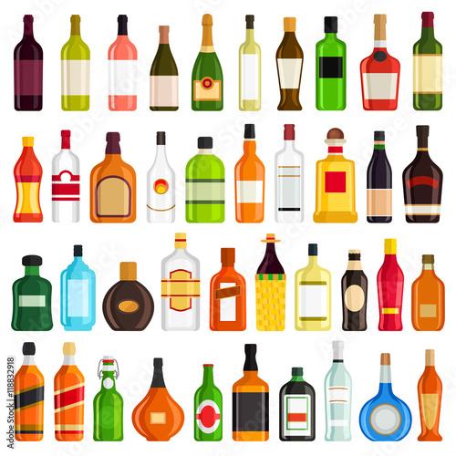 Láminas  Alcoholic Drinks Bottles Vector Set