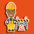 worker warning security tool vector illustration design