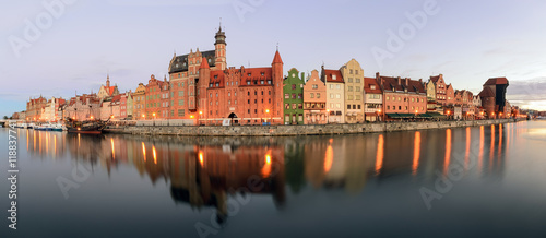 Panorama of riverside with the characteristic promenade of Gdansk, Poland.