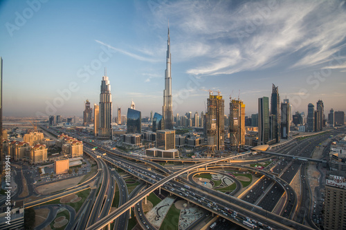 Dubai skyline with beautiful city close to it's busiest highway on traffic Canvas Print