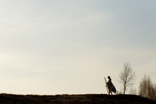 Silhouette Of Native Indian Am...