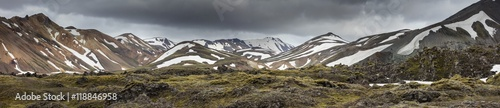 Fotografie, Obraz  black clouds above the mountain hills in Iceland