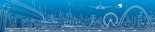 Panorama przemysłowa i technologiczna, krajobraz miejski, scena infrastruktury, miasto nocą, grafika wektorowa