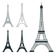 Different eiffel tower vector landmark set