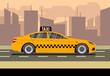 Taxi car flat vector illustration