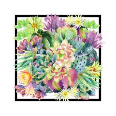 FototapetaWatercolor blooming cactus background