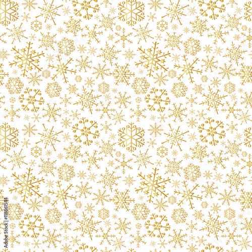 Cotton fabric gold winter snowflakes seamless winter pattern eps10