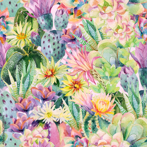 Cotton fabric Watercolor blooming cactus background