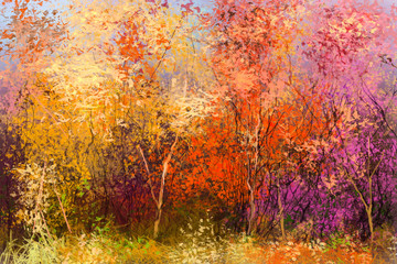 Obraz Oil painting landscape - colorful autumn trees. Semi abstract image of forest, trees with yellow - red leaf. Autumn, Fall season nature background. Hand Painted Impressionist style