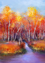 Oil Painting Landscape - Colorful Autumn Trees. Semi Abstract Image Of Forest, Trees With Yellow - Red Leaf And Lake. Autumn, Fall Season Nature Background. Hand Painted Landscape, Impressionist Style