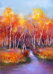 Plakat Oil painting landscape - colorful autumn trees. Semi abstract image of forest, trees with yellow - red leaf and lake. Autumn, Fall season nature background. Hand Painted landscape, Impressionist style
