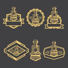 Steam Locomotive Badge Logo