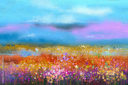 Abstract colorful oil painting landscape background. Semi abstract image of wildflower and field. Yellow and red wildflowers at meadow with blue sky. Spring, summer season nature background - 118862303