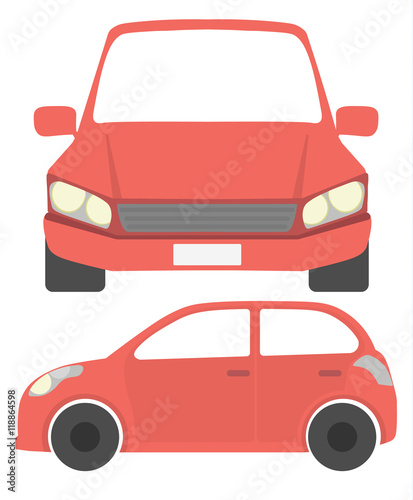 Staande foto Cartoon cars Isolated red car. Simple red isometric car on white background.