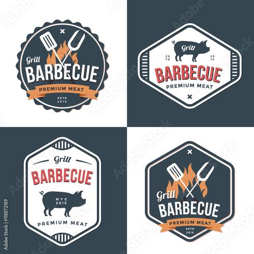 Set Of Badges Labels And Logos For Restaurant Foods Pork