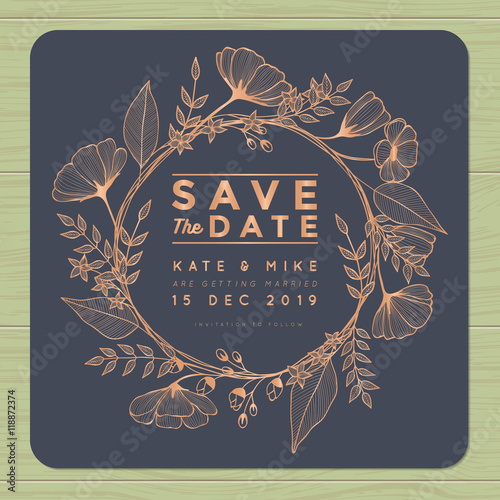 Fotografia, Obraz  Save the date, wedding invitation card with wreath flower template