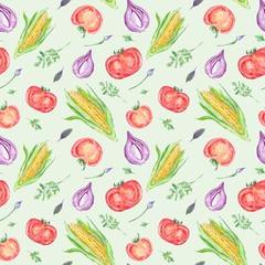 Fototapeta Warzywa Watercolor Vegetable Pattern