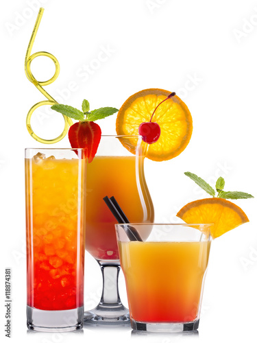 Orange cocktails with fruits isolated on white - 118874381
