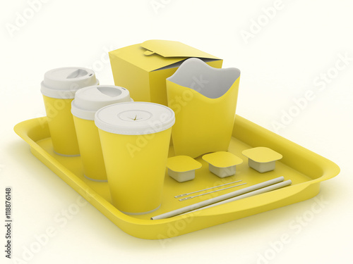 Yellow clear set of utensils for fast food. Net Pattern for design ...