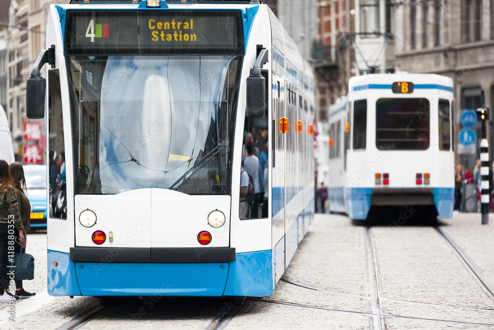 Fototapety, obrazy: a tram in Amsterdam