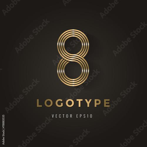 Elegant golden Logotype, alphabet letter logo, corporate, identity, branding for business. Vector illustration. Wall mural