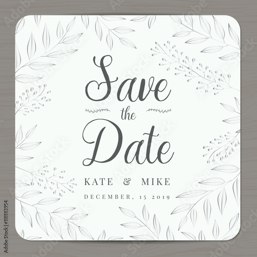 save the date wedding invitation card template with silver color