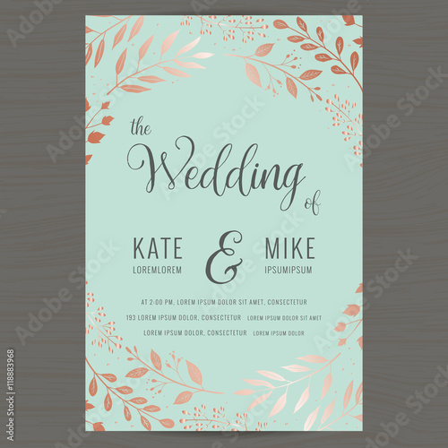Fototapeta Save The Date Wedding Invitation Card Template With Copper Color Flower Floral Background Vector Illustration