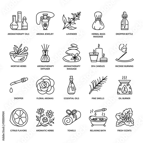 Fotografie, Obraz  Modern vector line icons of aromatherapy and essential oils