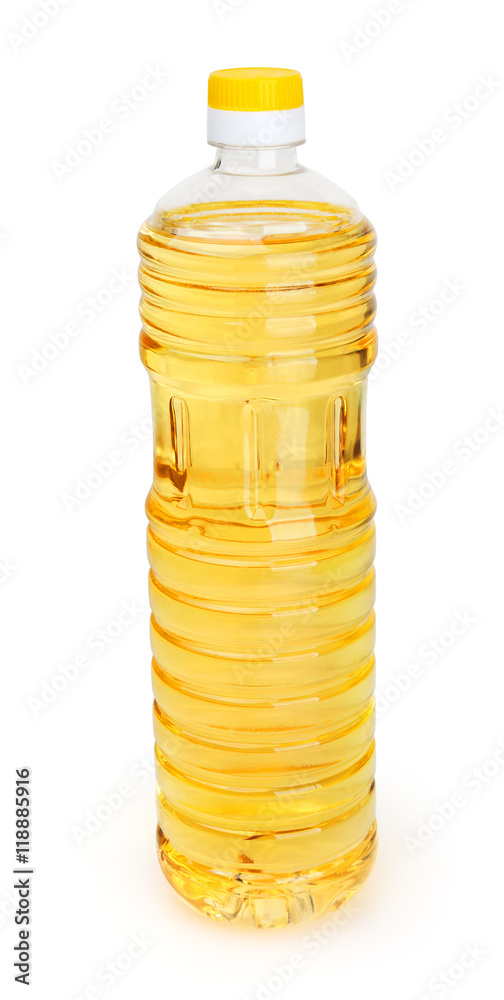 Fototapety, obrazy: Sunflower oil in bottle isolated on white background with clipping path