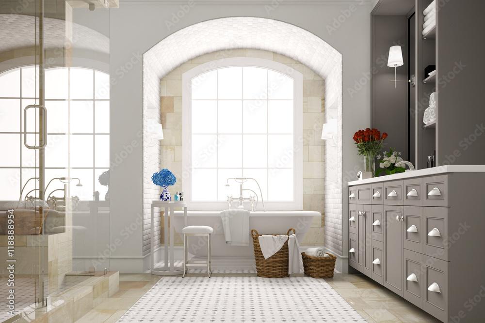 Foto auf Acrylglas Elegantes Badezimmer mit Badewanne am Fenster ...