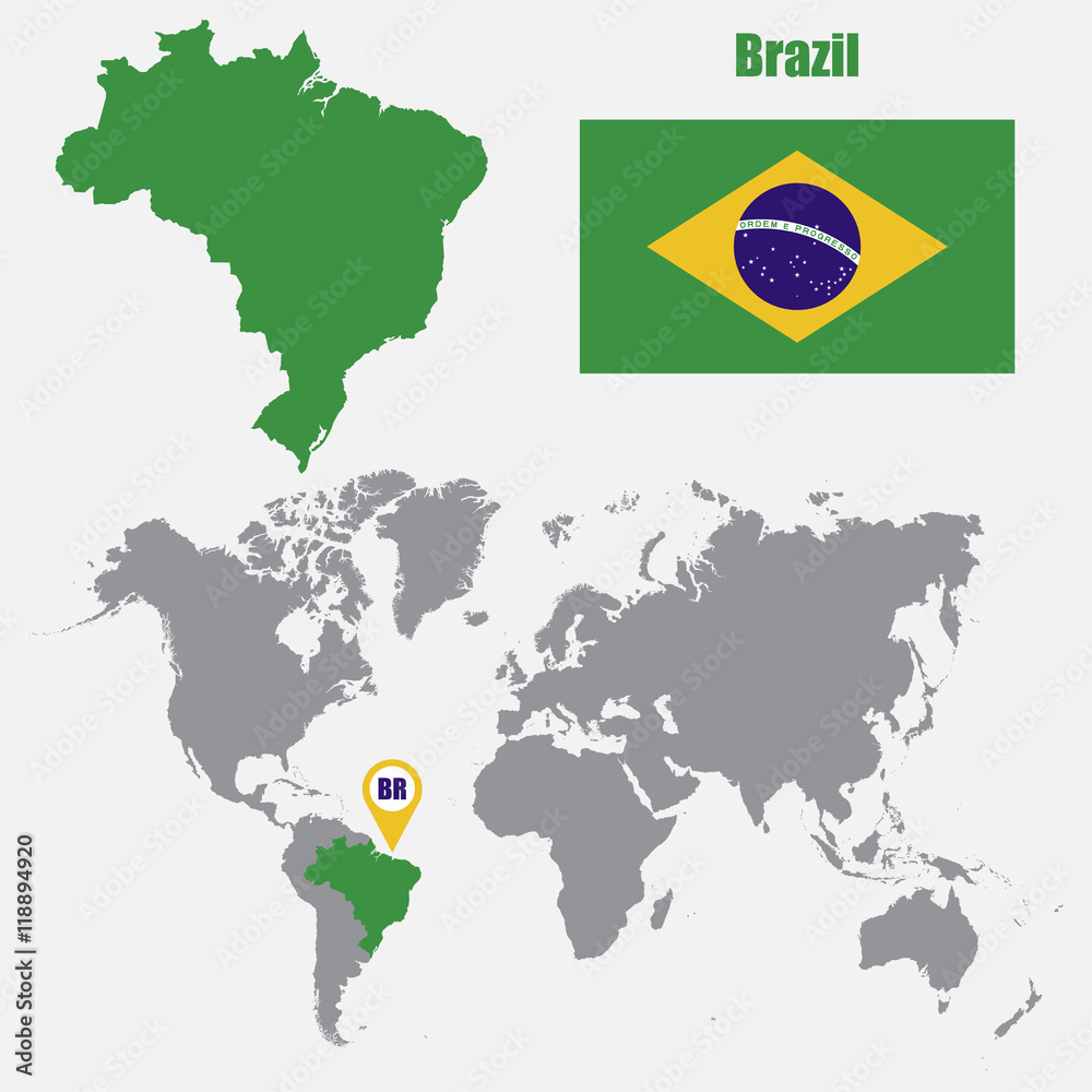 Brazil map on a world map with flag and map pointer Foto, Poster ...