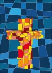 Fototapeta Do kościoła Das Kreuz als Symbol für Christus. Illustration im stiele eines modernen Kirchenfenster.