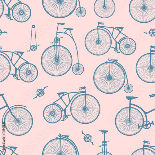 Cotton fabric Background bicycle seamless
