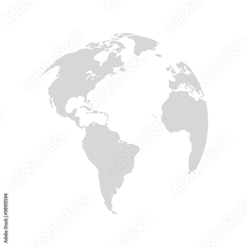 plaearth map grey world icon. Flat and Isolated design. Vector